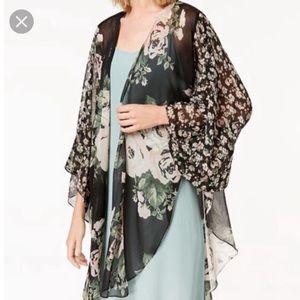 Cejon Black Floral Chiffon Kimono Wrap